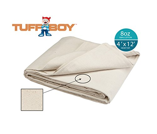 Canvas Cloths (TUFFBOY 8 OZ. Super Weight Cotton Canvas All Purpose Drop Cloth 4 Ft. X 12)