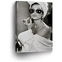 SmileArtDesign Audrey Hepburn Wall Art Make Up Canvas Print Iconic Pop Art Pretty Beauty Black and White Home Decor Artwork Gallery Stretched and Ready to Hang -%100 Handmade in The USA - 12x8