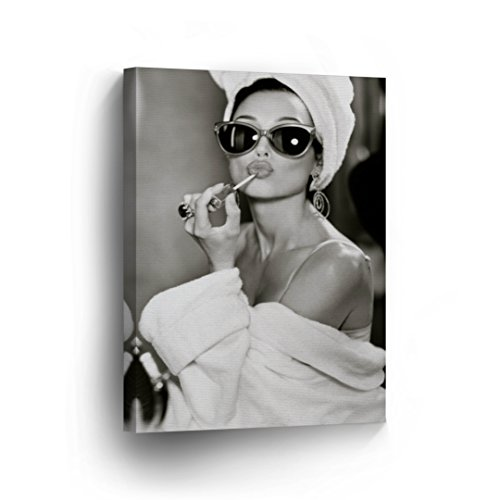 Audrey Hepburn Wall Art Make Up CANVAS PRINT Iconic Pop Art Pretty Beauty Black and White Home Decor Artwork Gallery Wrapped Stretched and Ready to Hang - %100 Handmade in the USA - 12x8