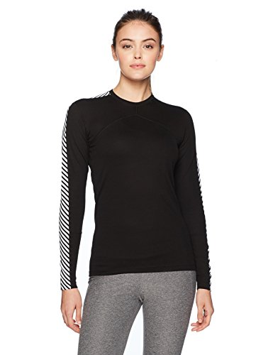 Helly Hansen Women's Lifa Stripe Crew Neck Long Sleeve Lightweight Breathable Moisture Wicking Thermal Baselayer Top, 990 Black, Medium (Underwear Long Helly Hansen)