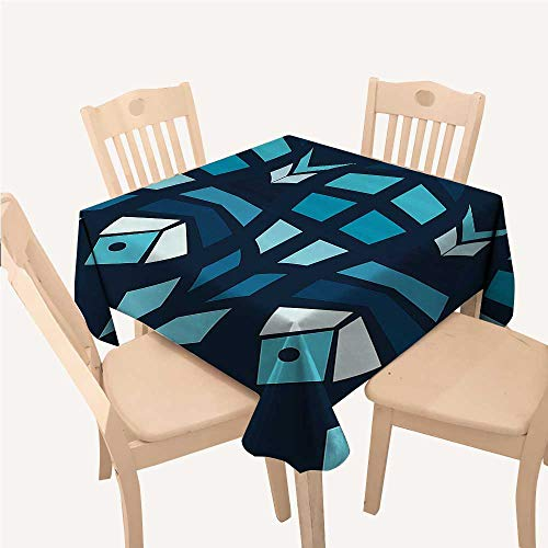 WilliamsDecor Mosaic Table Cloths Spill Proof Ceramic Style Fractal Fish Icon in Depth Aquarium Sea IllustrationSky and Dark Blue Navy White Square Tablecloth W54 xL54 inch
