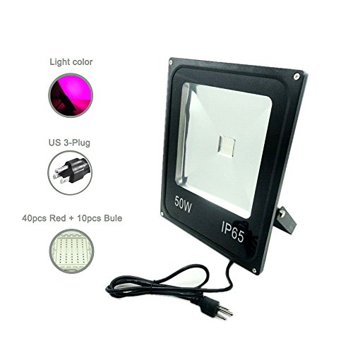 Floodoor 50W LED Plant Grow Light, US 3 Pins Plug, Hydroponic Flower Vegetable Plant Garden Greenhouse Indoor Cultivation Black Housing Floodlight Lamp