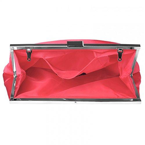 da CASPAR Pochette Donna Clutch TA320 Raso Rosso Sera in 6rrHI