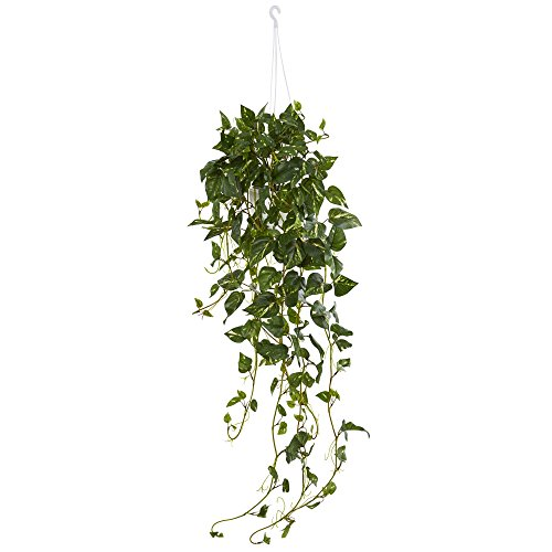 Nearly Natural Pothos Hanging Basket Artificial Plant, Green