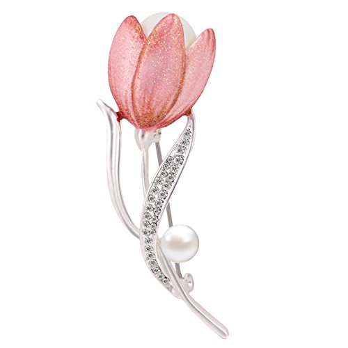 Gabrine Womens Girls Fashion Jewelry Tulip Flower Rhinestone Pearl Studded Brooch Breastpin Sweater Lapel Pin for Wedding Bridal Party (Studded Brooch Pin)