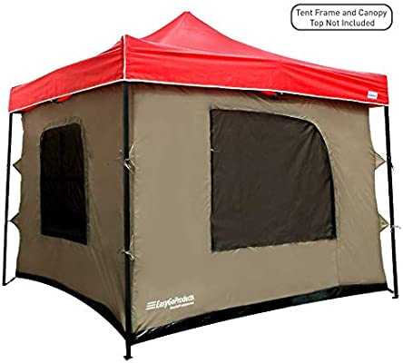 sale retailer f0714 4e59d Camping Tent attaches to Any 10'x10' Easy Up Pop Up Canopy Tent with 4  Walls, PVC Floor, 2 Doors and 4 Windows - Solid Roof - Standing Tent -  Family ...