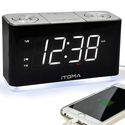 iTOMA Alarm Clock Radio, Digital FM Radio, Dual Alarm, Cell Phone USB Charge Port, Night Light, Auto & Manual Dimmer, Snooze, Sleep Timer,Battery Backup (CKS507)