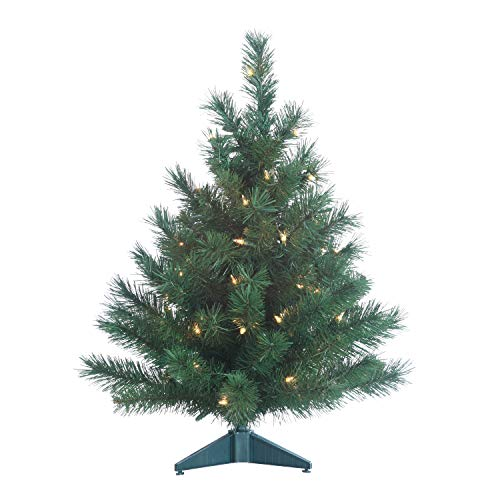 Gerson Colorado Spruce Lighted 2 Foot High Christmas Tree - Battery Operated with Timer - Artificial Tree with Warm White LED Lights - Indoor/Outdoor with Seam Sealed Battery Compartment (Tree Colorado Christmas)