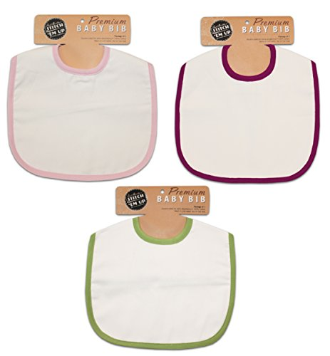 Aunt Martha's Girl's Baby Assortment Bib, 11.5 by 10.5-Inch, 3-Pack