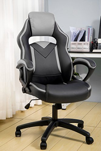 Cheap Merax Office Chair Computer Gaming Desk Chair Racing Style Ergonomic Design Office Chair (gray)