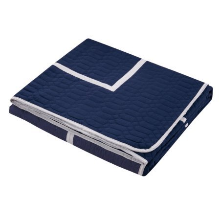 7-Piece Marla Hotel Collection 2 tone banded Quilted Geometrical Embroidered, Quilt in a bag, Includes sheets set King Quilt Set Navy
