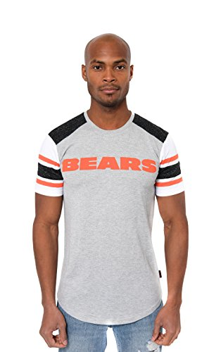Chicago Bears Crew Shirt - NFL Men's Chicago Bears T-Shirt Varsity Stripe Short Sleeve Tee Shirt, Small, Gray