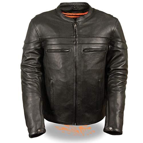 Sporty Scooter Jacket - Milwaukee Leather ML1408 Men's Sporty Crossover Black Leather Scooter Jacket with Gun Pocket - Black/Medium - MD