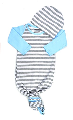 Infant Baby Tie Nightgown and Matching Hat | Sleep Gown With A Tie Bottom | Boy Girl Unisex | Soft Stretchy Cotton (Grey Stripe Baby Blue, 3-6 Month) (Gown Bottom)