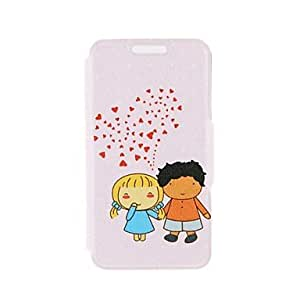 ZXSPACE Kinston Cartoon Couples Pattern PU Leather Full Body Case with Stand for iPhone 5/5S