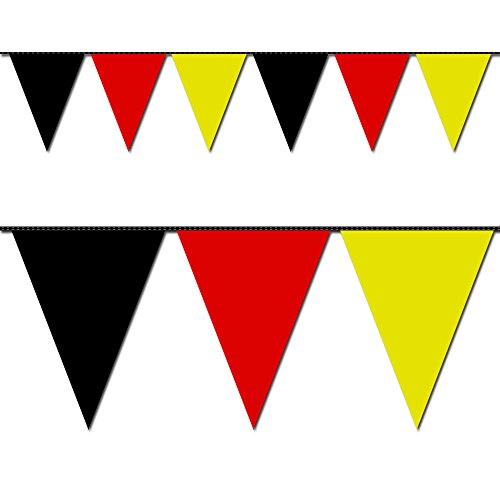 Ziggos Party Black, Red and Yellow Triangle Pennant Flag 100 Ft. -