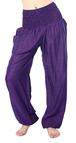 Boho Vib Women's Rayon Print Smocked Waist Boho Harem Yoga Pants (L/XL, Solid Purple)