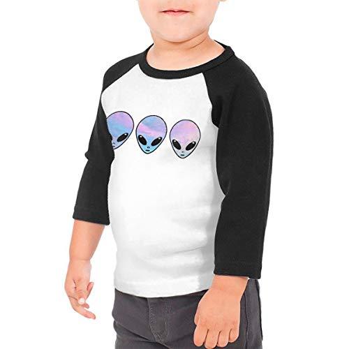 ea1d1ca5eff45 NOOFORMER Psychedelic Three Holo Aliens Kids Raglan Baseball Shirt for  Boys Girls Black
