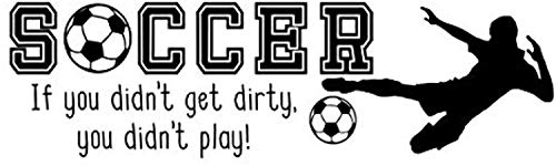 Wall Vinyl Decal Soccer If You Didn't Get Dirty You Didn't Play Match Play Football Sport Passion Hobby Ball Hobby Motivation Quote Game Family Fun Quote Love Decor Sticker Home Print WD8879