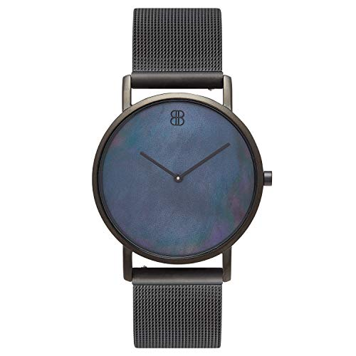 Byron Bond Mark 1 - Luxury 38mm Wrist Watches for Women & Men (Peckham - Black Case with Black Pearl Dial and Black Mesh - Black Pearl Leather Dial