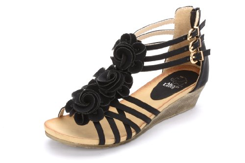 Alexis Leroy Women Fashion T-straps Buckle Sandal Black Size 8 (8 Size Womens Black Sandals Wedge)