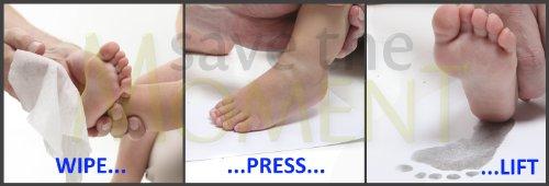 Sin tinta toallitas para las manos y pies Kit de impresión por Save The Moment - 2 papeles estucados grandes y 1 sin el cojín de tinta - Negro azul