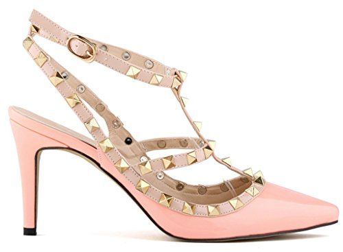 Fangsto Womens Fashion Leather High-Heeled Strappy Sandals Pink