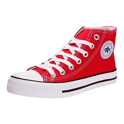 Padcod High Heel Sneaker, Canvas Lace up Fashion Shoes High Top Wedges Casual Sneaker Red-1