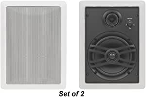 """Yamaha Natural Sound Custom Easy-to-install In-Wall Flush Mount 3-Way 120 watts Speaker Set (1 Pair of 2 Speakers) with 1"""" Silk Soft Swivel Dome Tweeter, 2"""" Swivel Midrange & 6.5"""" Cone Woofer for A Regular Size Room or 2 Small Rooms"""