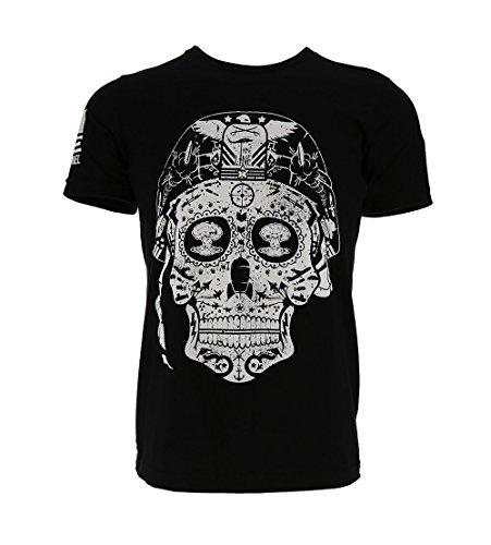 (Nine Line Sugar Skull Men's T-Shirt, Color Black, Size)