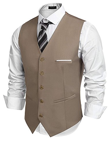 COOFANDY Men's Fashion Formal Slim Fit Business Dress Suit Vest Waistcoat Camel Small ( Chest: 41.3