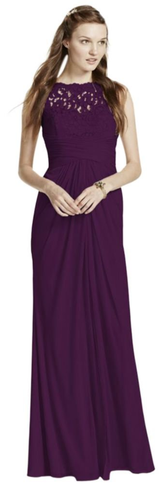 Sleeveless Long Mesh Bridesmaid Dress with Corded Lace Style F15749, Plum, 14 by David's Bridal