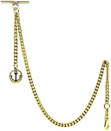Gold Albert Chain Pocket Watch Curb Link Chain Fob T Bar + Swivel Clip + Anchor Medal Fob AC66