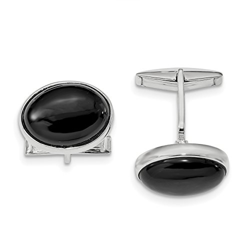 ICE CARATS 925 Sterling Silver Cabochon Black Onyx Cuff Links Mens Cufflinks Link Fine Jewelry Dad Mens Gift Set by ICE CARATS