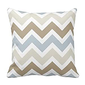 Generic Custom Smoky Blue Gray, Tan, and Brown Chevron Pattern Throw Pillow Covers