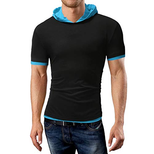 (Men's Hoodie Premium Fitted T-Shirt,MmNote Fashion Slim Stretch Cotton Blend Cool Quick Casual Classic Workout Shirt Sky Blue)