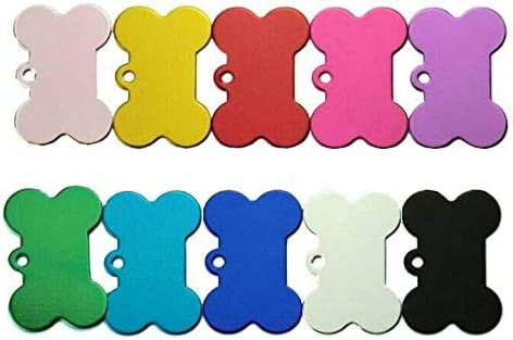 SMIN 10Pcs Pet ID Tag Bone Shape Double Sided Dog Cat Pet Name Phone Number ID Tag (38MM)