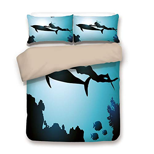- Duvet Cover Set,Back of Khaki,Dolphin,Scuba Diver Girl Swimming with Dolphin Silhouette in Sea Fish Reefs Image,Pale Blue Black,Decorative 3 Pcs Bedding Set by 2 Pillow Shams,King