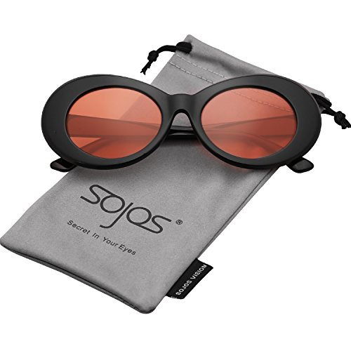 a1bc2890ad SojoS Clout Goggles Oval Mod Retro Vintage Kurt Cobain Inspired Sunglasses  Round Lens SJ2039 With Black Frame Orange Lens - Buy Online in UAE.