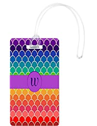 Rikki Knight W Monogram Initial On Rainbow Colors Scallop Luggage Tags, White