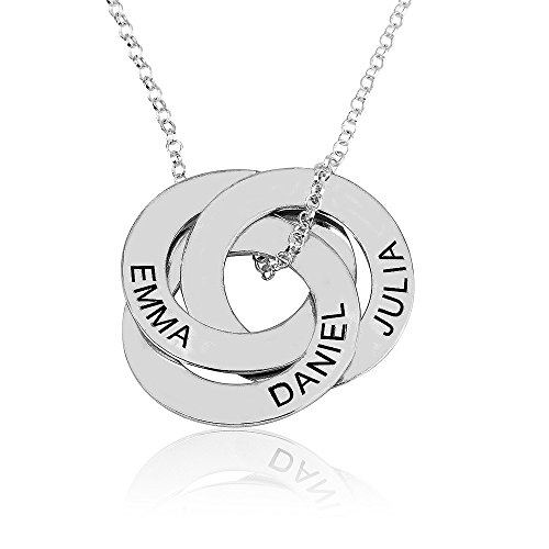 Russian Ring Necklace with Engraving - Personalized & Custom Made Gift For Mom (18, 925 sterling-silver) ()