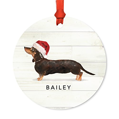 Andaz Press Personalized Animal Pet Dog Metal Christmas Ornament, Black and Tan Dachshund with Santa Hat, 1-Pack, Includes Ribbon and Gift Bag, Custom Name
