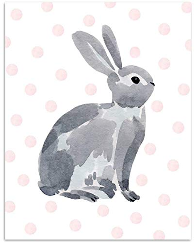 Watercolor Bunny with Pink Dots Wall Art - 11x14 Unframed, Digital Drawing Decor Print - Makes a Great Gift Under $15 for Baby's Room, Toddler, Child Bedroom