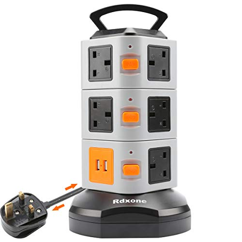6.6ft 3Way 2M Tech Traders /® Extension Lead with USB Ports,UK 3 Gang 2M with 4 USB Ports,Overload Protection,Surge Protector with Overload Protection Switch -White