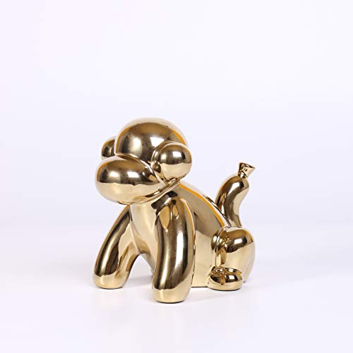 Ardax Gold Home Décor Balloon Figurine Accent, Small Ceramic Animal Statue Handmade Sculpture Ornament (Monkey)