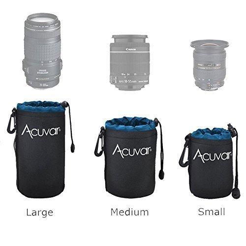 3-Pack ACUVAR Soft Neoprene Lens Pouch for DSLR Lenses (Small, Medium and Large) f/Canon, Nikon, Pentax, Olympus, Sony, Panasonic, Nikkor w/Drawstring, Water Resistant