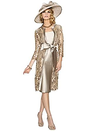 Fenghuavip Elegant 2 Pcs Mid Long Silver Bridal Mother Dress with a Coat (2)