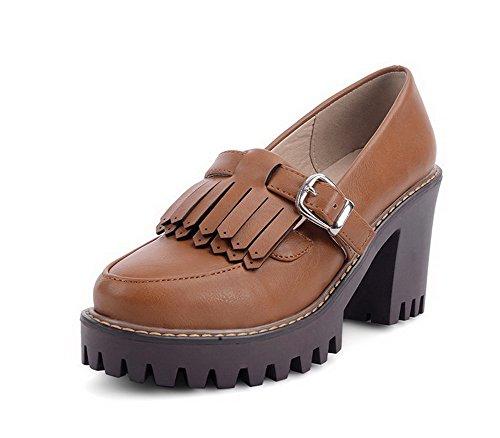 AllhqFashion Damen Ziehen auf Rund Zehe Hoher Absatz PU Leder Rein Pumps  Schuhe Braun