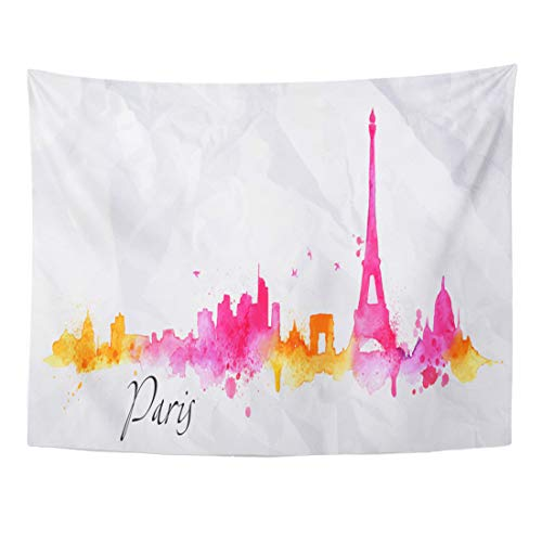 Emvency Tapestry 80 x 60 Inches Red France Silhouette Paris City Splashes of Watercolor Drops Streaks in Pink Orange Tones Skyline Eiffel Home Decor Tapestries Wall Hanging Art For Living Room Bedroom