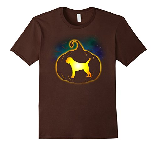 Border Terrier Halloween Costume (Mens Border Terrier Pumpkin Funny Halloween T-Shirt 2XL Brown)